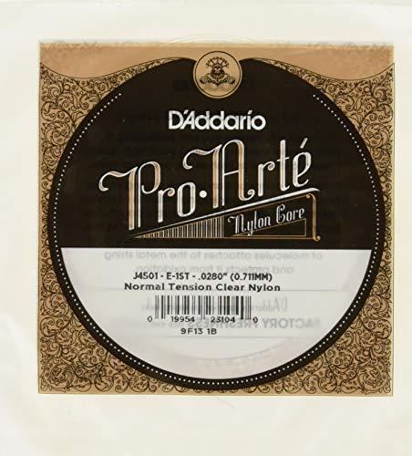 D'Addario J4501 Pro-Arte, cuerda individual de nailon para guitarra clásica, tensión normal, primera cuerda
