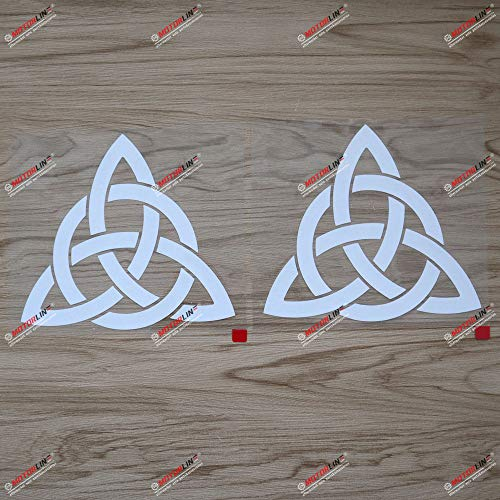 (2) 4'' Celtic Trinity Knot Symbol Decal Sticker Car Vinyl White sda1