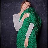 ASY Manta de punto gruesa hecha a mano para tejer, manta gigante, suave, gruesa, supersuave, manta para sofá, manta para mascotas, decoración de dormitorio, verde, 120 x 150 cm