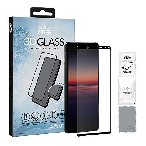 Eiger - Protector de pantalla de cristal templado para Sony Xperia 1 II (cristal templado, incluye kit de limpieza), color transparente y negro