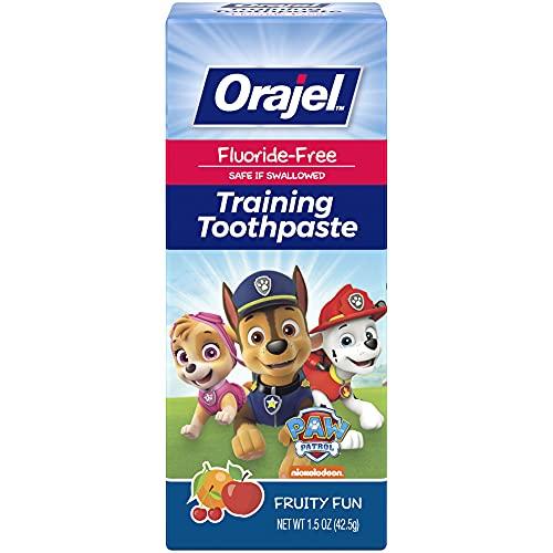 Orajel Paw Patrol Fluoride-Free Training Toothpaste, Fruity Fun Flavor, One 1.5oz Tube: Orajel #1 Pediatrician Recommended Brand for Kids Non-Fluoride Toothpaste