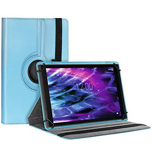 eFabrik Schutztasche für Medion Lifetab E10412 | X10311 | X10302 | X10301 | S10352 | S10351 Schutzhülle Tasche Cover Case Etui 360 Grad Rotation Drehung Aufstellfunktion Leder-Optik, Farbe:Blau