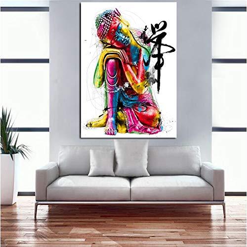 HD druckt Ölgemälde schlafende Buddha Leinwand Kunst Gemälde druckt Buddha Statue Ölgemälde Wohnzimmer Schlafzimmer Familienkunst rahmenlose dekorative Malerei A134 40x60cm
