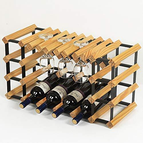 Vino Bastidores Barra Comercial de madera pura uva de vino colgador titulares invertido cáliz estante de vidrio de vino rojo vino de Hogares Vitrina (Color: B) WTZ012 (Color : B)