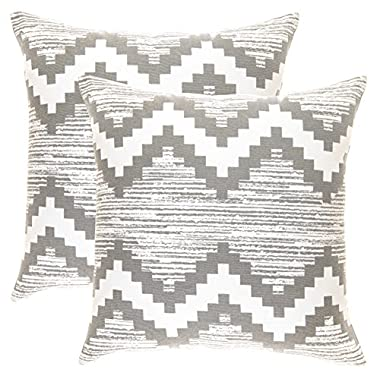 TreeWool 2 Pack Throw Pillow Covers Ikat Chevron Accent Decorative Pillowcases Toss Pillow Cushion Shams Slips Covers for Sofa Couch (20 x 20 Inches/50 x 50 cm; Sleet Grey), White Background
