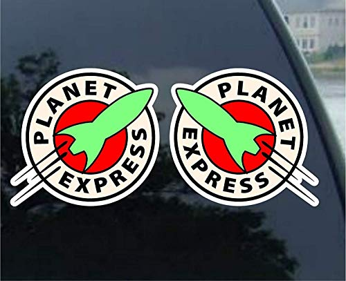 Yilooom Set of 2 - Planet Express Futurama - Die Cut Vinyl Car Decal Sticker Bumper Window Sticker 2 Pack 4 Inches At Longest End