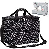 NICOGENA Sewing Machine Carrying Case, Universal Travel Tote Bag with Shoulder Strap for Singer, Brother, Janome and Accessories, Lantern Black