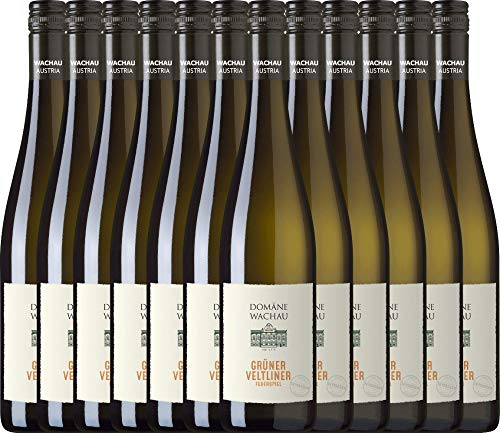 VINELLO 12er Weinpaket Weißwein - Grüner Veltliner Federspiel Terrassen 2020 - Domäne Wachau mit Weinausgießer | trockener Weißwein | österreichischer Sommerwein aus Wachau | 12 x 0,75 Liter