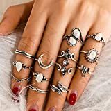 BERYUAN 12Pcs Trendy Casual Silver Moon Ring Teardrop Ring White Simulated Opal knuckle Ring Set Gift For Her For Mom Rings For Girls Teens Women(Silver)