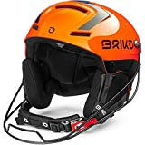 Briko Slalom Casco de esquí/Snow, Adultos Unisex, Shiny Orange-Black, 54 cm