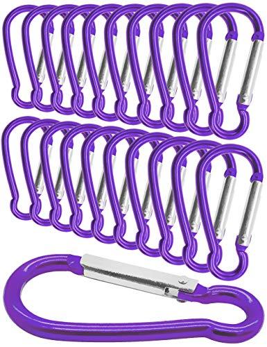 Outdoor Saxx® - Lot de 20 mini mousquetons en aluminium, mousquetons en S, mousquetons pour fixation d'équipement au sac à dos, ceinture, tente, canoë, 5,8 cm, lot de 20, violet, violet.