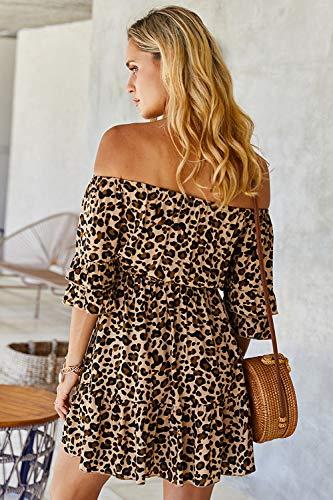 Vestido de Leopardo con Hombros Descubiertos para Mujer Mini Vestidos de Verano Sexy Boho Caqui S