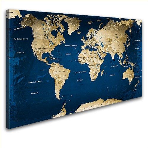 """LANA KK - Leinwandbild \""""Weltkarte Ocean\"""" Weltkarte - deutsch - Kunstdruck-Pinnwand auf Echtholz-Keilrahmen – Globus in  blau, einteilig  & fertig gerahmt in  100 x 70 cm"""