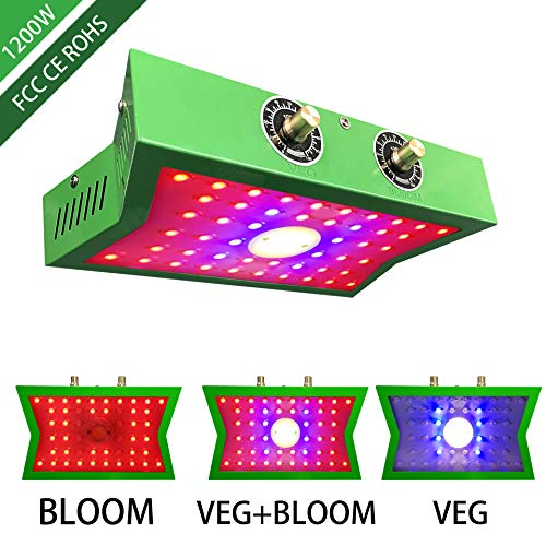 COB LED Grow Light 1200W, Adjustable Veg&Bloom Switch Full Spectrum Growing Lamps Double Chips for...
