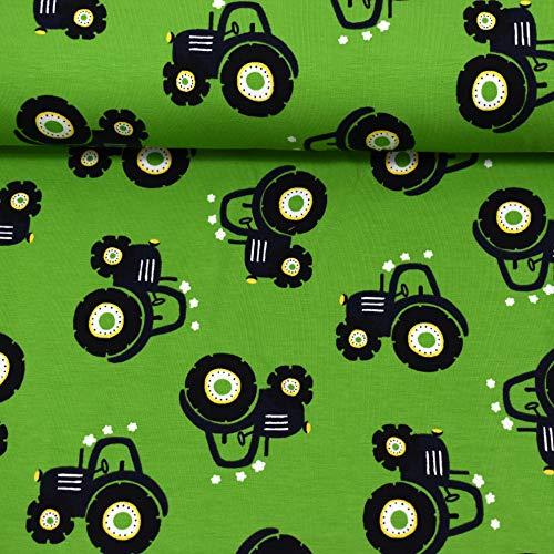 MAGAM-Stoffe Traktor Ben grün Jersey Stoff Oeko-Tex Meterware 50cm