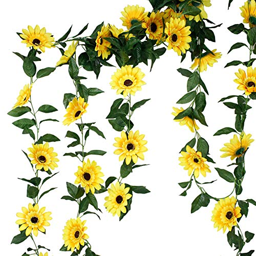LESHABAYER Artificial Silk 7.2Ft Sunflower Vine Rattan 5' Flowers Cane Garland Wall Hang Plant Wedding Party Home Garden Room Balcony Decoration,Pack of 2 (Flower vine#1)
