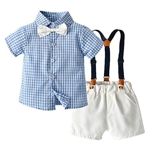 Gentleman Baby Bekleidungssets Baby Jungen Smoking Baby Junge Anzug Hosenträger Hosen und Plaid Fliege Krawatte Shirt Geburtstags Party Bekleidung Sets Baby Festliche Taufe Hochzeit Suit