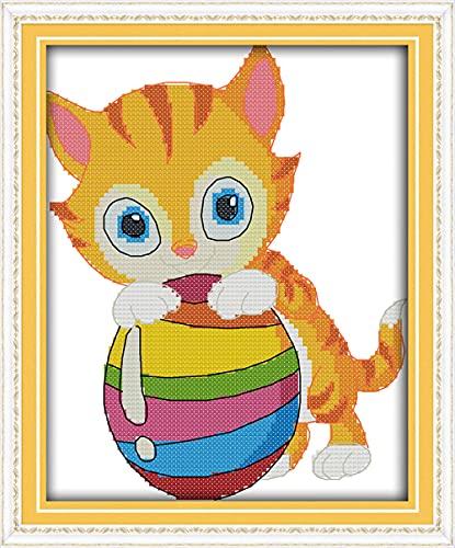 Gatito jugando a la pelota kit de punto de cruz animal de dibujos animados 14ct 11ct lienzo costura bordado DIY hecho a mano costura-11ct_ lienzo sin imprimir
