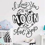 yaofale Stickers muraux Chambre d'enfant-Je t'aime à la Lune et Autocollants muraux arrière, décalcomanies vinyliques, décalcomanies Lune, Citations de Chambre d'enfant, Autocollants muraux,