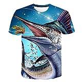 T-Shirt De Pesca Masculina De Verão Impressão 3D Casual Manga Curta 3D Casual Elegante Tops,5XL