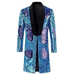 Purple - Blue Slim Fit Shiny Sequin Blazer