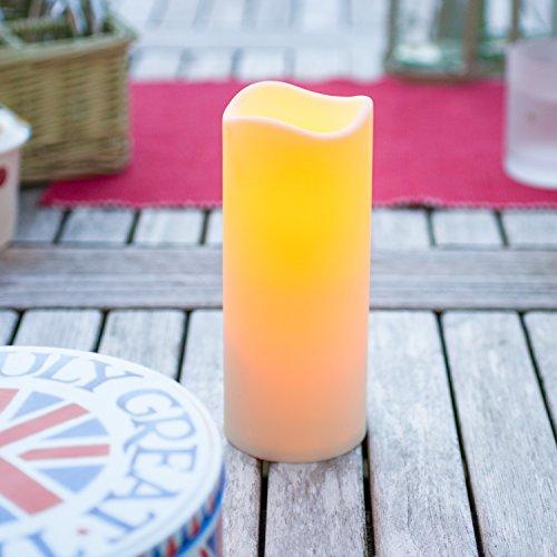 Lights4fun LED Kerze für Außen mit Timer 18cm