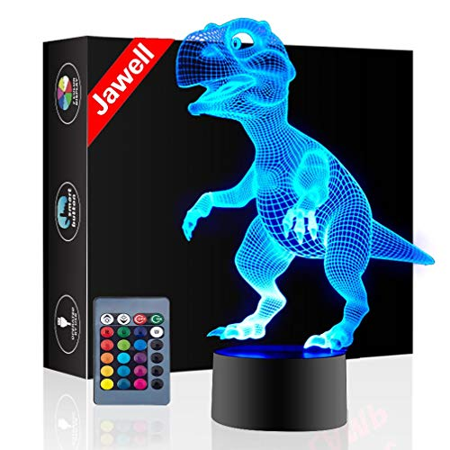 Christmas Gift Dinosaur 3D Illusion Night Light Beside Table Lamp, Jawell 16 Colors Auto Changing Touch Switch Party Decoration Lamps Birthday Gift with Remote Control