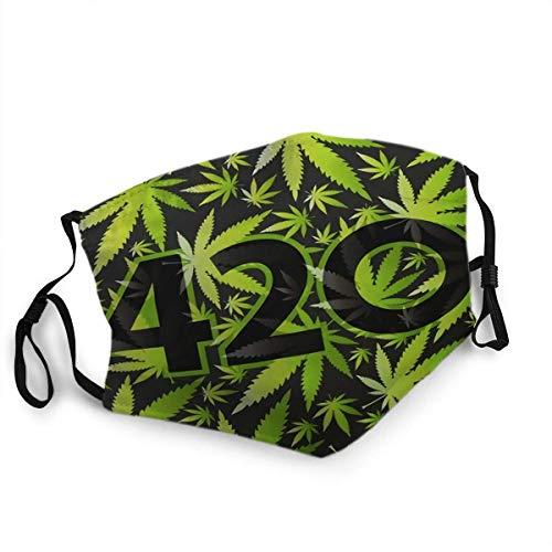 Wiederverwendbarer Gesichtsschutz Mundschutz 420 Symbol mit grünen Cannabisblättern
