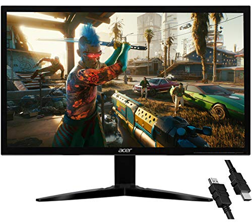Flagship Acer KG241 bii 24' 1920 x 1080 FHD 75Hz Refresh Rate 250 cd/m² Brightness AMD FreeSync 1ms(GTG) Response Gaming Monitor VGA Inputs Twisted Nematic (TN) Panel VGA Port + iCarp HDMI Cable