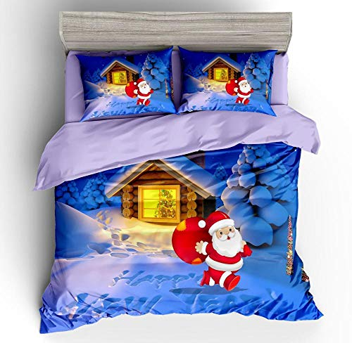 Aaooseso 3D Printed Bedding Set With 2 Pillowcases 50X75Cm Cartoon Santa Single 135 X 200 Cm Duvet Cover With Zipper Closure Soft Microfiber Quilt Cover Bedding For Boys And Girls