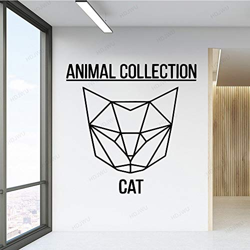 Ajcwhml Animal Collection Geometry Cat Sticker Removable Art Vinyl Wall Decal Bedroom Living Room stickers Background 43x43cm
