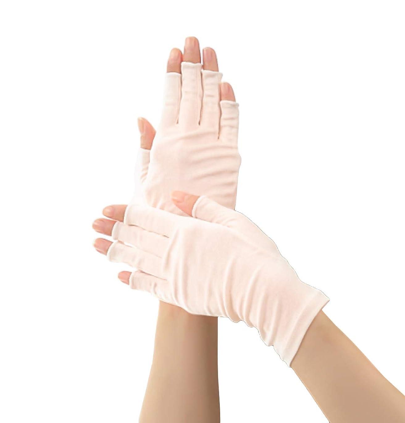 到着敬意を表して欲求不満Silk 100% シルク 手袋 指先カット タイプ 薄手 オールシーズンOK 外出時の 紫外線 UV 対策 スマホ PC 操作 や ICカード 取り出しもらくらく! 手首 ゆったり おやすみ フィンガーレス スキンケア ハンドケア グローブ (ピンクホワイト)