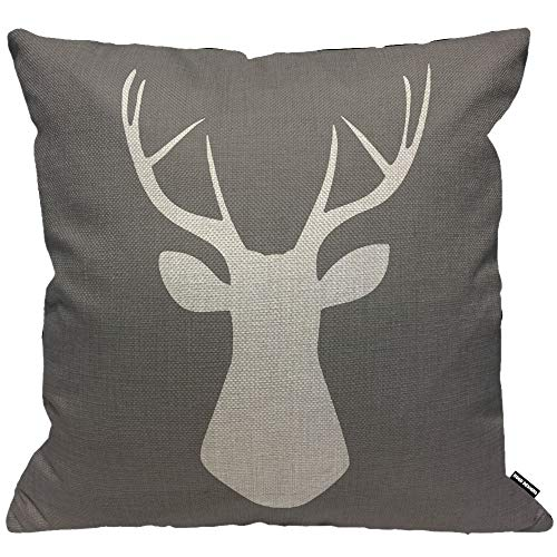 HGOD DESIGNS Cushion Cover Woodland Deer Head Throw Pillow Cover Home Decorative for Men/Women/Boys/Girls living room Bedroom Sofa Chair 18X18 Inch Pillowcase