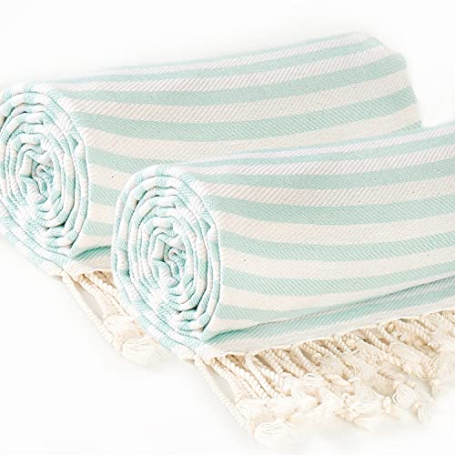 Great Loom 100% Cotton Beach Towels Set of Two XL 40 x 71 Inches. Turkish Towel, Peshtemal. Mint Stripes on White