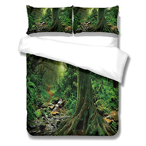 DZZQQ Duvet Cover Set Single-Forest Zipper Closure with 1 Pillow cover Bedding Set Ultra Soft Hypoallergenic Microfiber Quilt Cover Sets