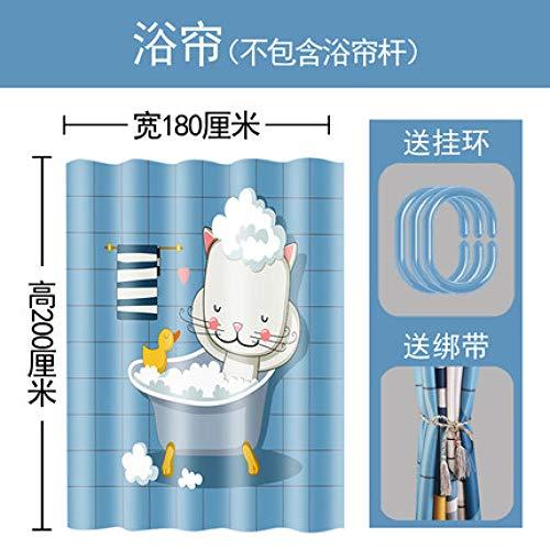 MFSM gordijn 1,8M * 2 M water blokkeren gordijn Cartoon badkamer douchegordijn dikke waterdichte partitie gordijn gratis Punch douche gordijn staaf set toilet