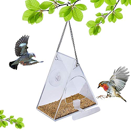 SUQIOME Hanging Clear Acrylic Window Bird Feeder with Chains,Squirrel Proof,Easy to Clean,Outdoors Birdfeeder for Wild Birds, Finch, Cardinal and Bluebird (Triangle)