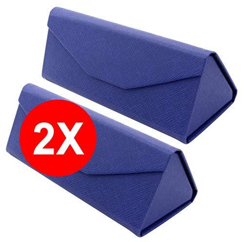 TBOC TBOC Faltbar Brillenetui für Sonnenbrille - [Pack: 2 Einheiten] [Blau] Hartschale [Dreieckige] Tasche [Magnetverschluss] Innenfutter Lesebrille Sportbrille Groß Leicht Auto Tasche Dame Herr Kind