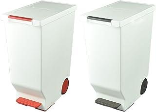 日本製 ダストボックス 平和工業 スライドペダルペール 45L 2個セット ゴミ箱 ごみ箱 おしゃれ (レッド×ブラウン)