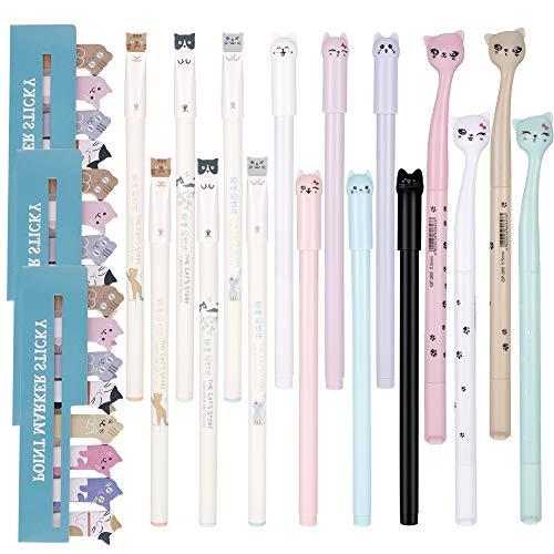 Smilcloud 16 Stücke Cartoon Katze Stifte Kugelschreiber Gel Ink Pen mit 720 Stücke Nette Katze Haftnotizen für Schule Büro Supplies Kreative Schreibwaren