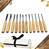 SeaboteK Full Size Wood Carving Tools Set of 12 with Canvas bag - Gouges and carving Chisels for Beginners, Hobbyists and Professionals