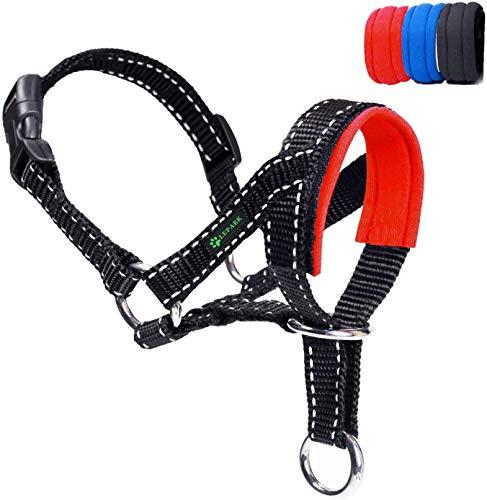 ILEPARK Hundehalfter Mit Reflektierendem Riemen, Halfterhalsband Für Hunde, Verstellbar Und Einfach Zu Kontrollieren. (M,Rot)