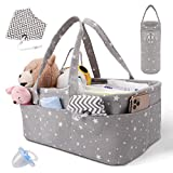 Baby Diaper Caddy Organizer - Baby Shower Gift Basket for Boys and Girls - Large Nursery Storage Bin for Changing Table - with 3 Insert Compartments - Bonus Bottle Cooler, 1 Bib, 1 Pacifier