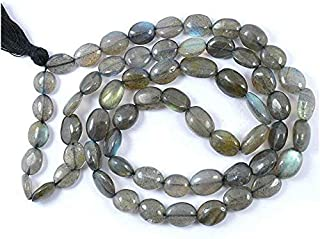 Zoya Gems & Jewellery Labradorite Mala Oval Beads Mala Semi Precious Gemstone Crystal Necklace Reiki Healing Stone Mala Ja...