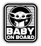 Funny Baby Yoda On Board Safety White Vinyl Decal Bumper Sticker/Pegatina