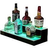 Goodyo Liquor Bottle Display Shelf LED Lighted Bar Shelf 2 Step 16' Length,Multiple Colors