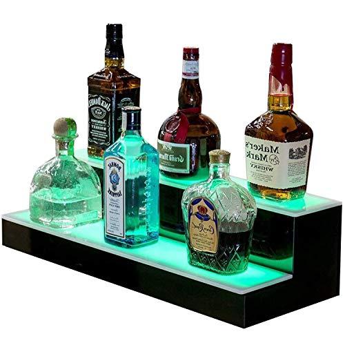 Goodyo Liquor Bottle Display Shelf LED Lighted Bar Shelf 2 Step 16