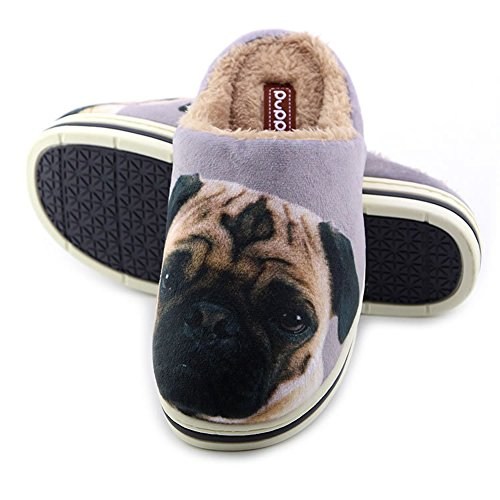 Cute Funny Unisex Animal Cartoon Pattern Winter Warm Thick Slipper Pug 7.5/8