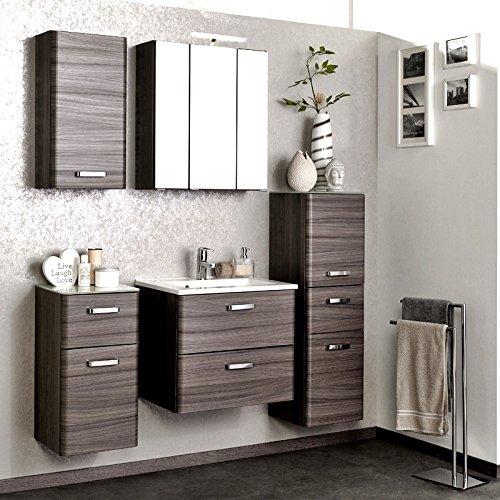 Komplett Badezimmermöbel Set Eiche dunkel Waschtisch LED Spiegelschrank Hängeschrank Unterchrank Hochschrank Badezimmer Badmöbel B x H x T: 170 x 200 x 48 cm