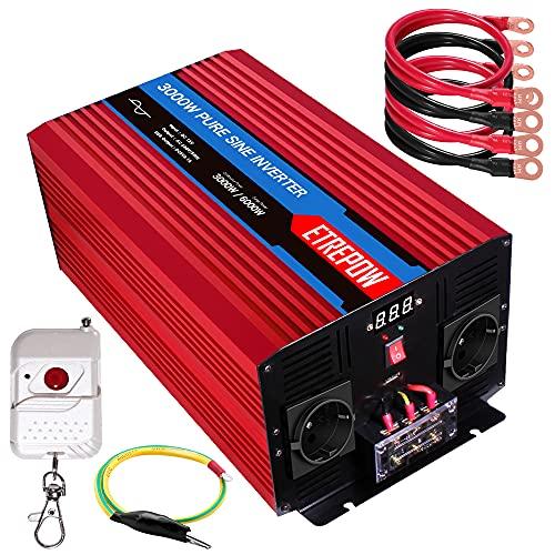 Inversor 12V 220v Onda Pura 3000W /6000W ETREPOW Convertidor de Voltaje con 2 Tomas UE y un USB de 2,1A, Mando a Distancia Inalámbrico, Pantalla Digital y 2 Ventiladores-Auto Transformador